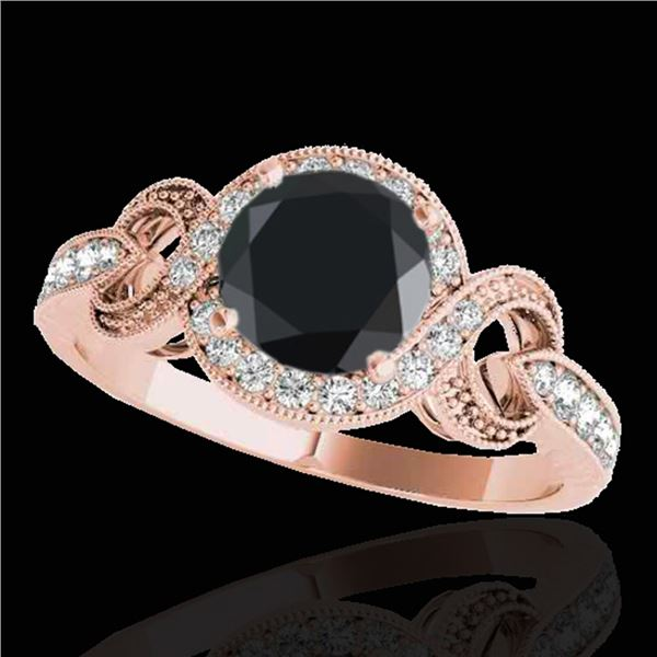 1.33 ctw Certified VS Black Diamond Solitaire Halo Ring 10k Rose Gold - REF-47Y5X