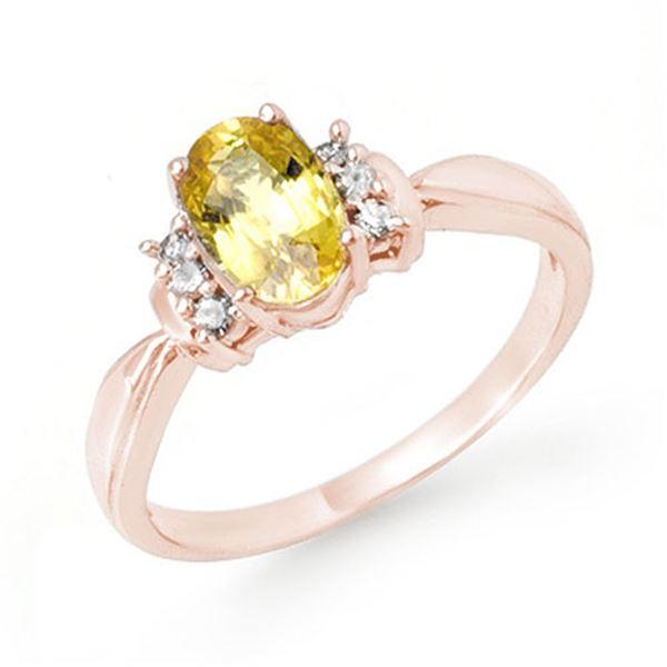 1.40 ctw Yellow Sapphire & Diamond Ring 14k Rose Gold - REF-27M3G