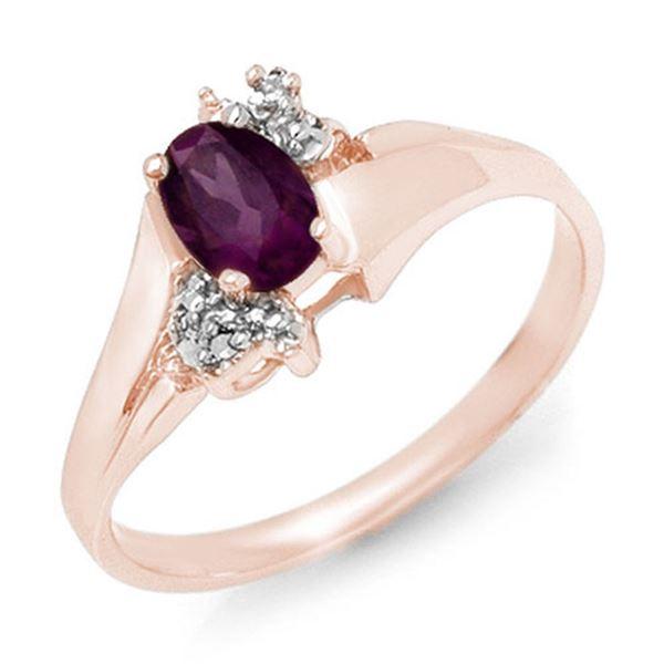 0.55 ctw Amethyst & Diamond Ring 10k Rose Gold - REF-11W2H