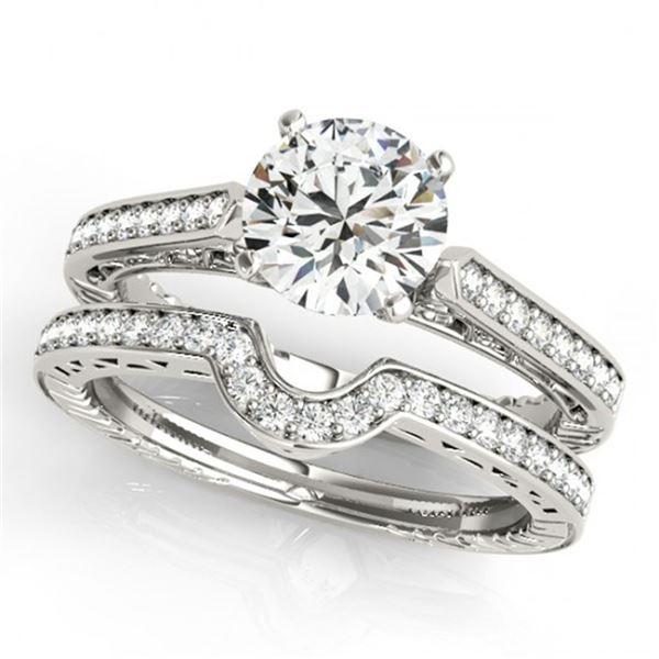 0.67 ctw Certified VS/SI Diamond 2pc Wedding Set Antique 14k White Gold - REF-80M5G