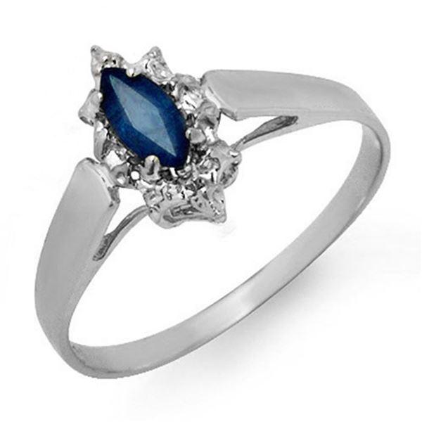 0.33 ctw Blue Sapphire Ring 18k White Gold - REF-14H3R