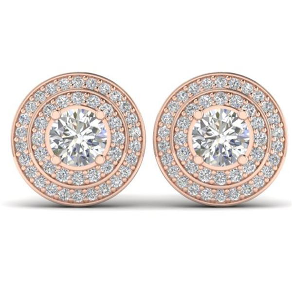 1.45 ctw VS/SI Diamond Art Deco Halo Stud Earrings 14k Rose Gold - REF-126X2A
