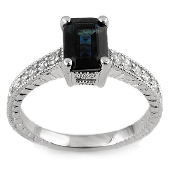 2.65 ctw Blue Sapphire & Diamond Ring 14k White Gold - REF-38N2F