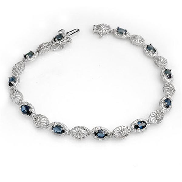 4.82 ctw Blue Sapphire & Diamond Bracelet 10k White Gold - REF-38K8Y