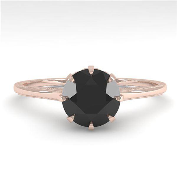 1.0 ctw Black Diamond Engagment Ring Vintage 18k Rose Gold - REF-42F2M