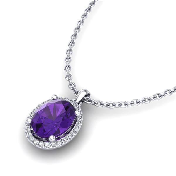 2.50 ctw Amethyst & Micro Pave VS/SI Diamond Necklace 18k White Gold - REF-33H8R