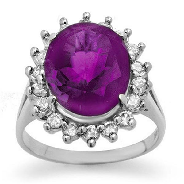 4.0 ctw Amethyst & Diamond Ring 18k White Gold - REF-85X5A