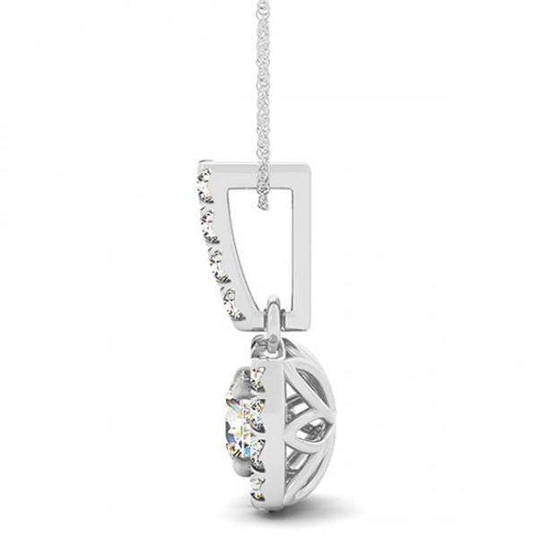 0.4 ctw Certified SI Diamond Halo Necklace 14k White Gold - REF-34X5A