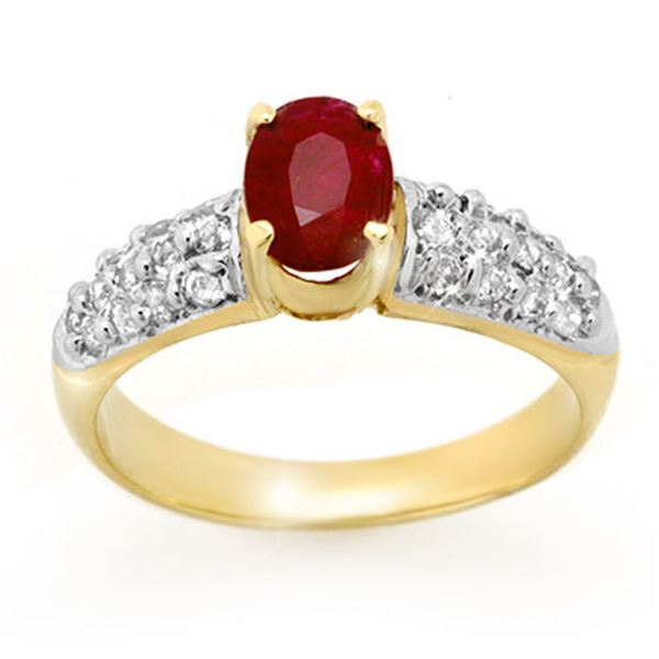 1.50 ctw Ruby & Diamond Ring 10k Yellow Gold - REF-40M9G