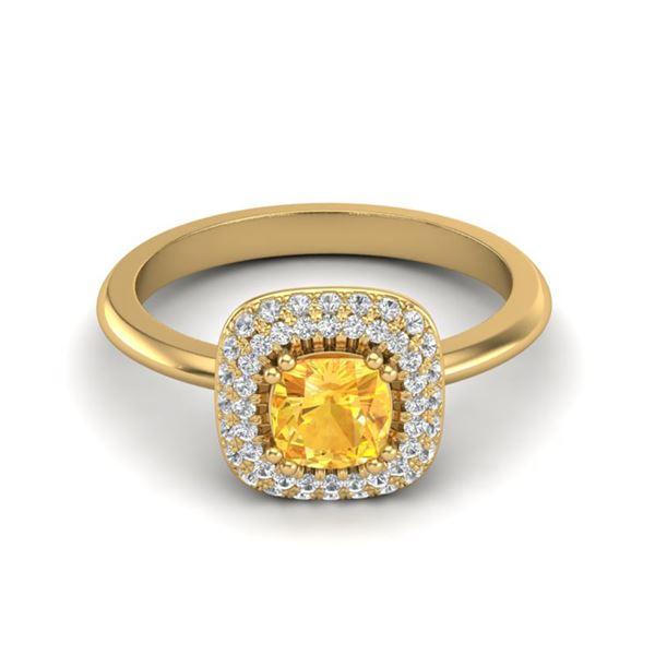 1.16 ctw Citrine & Micro VS/SI Diamond Ring Halo 18k Yellow Gold - REF-53N5F