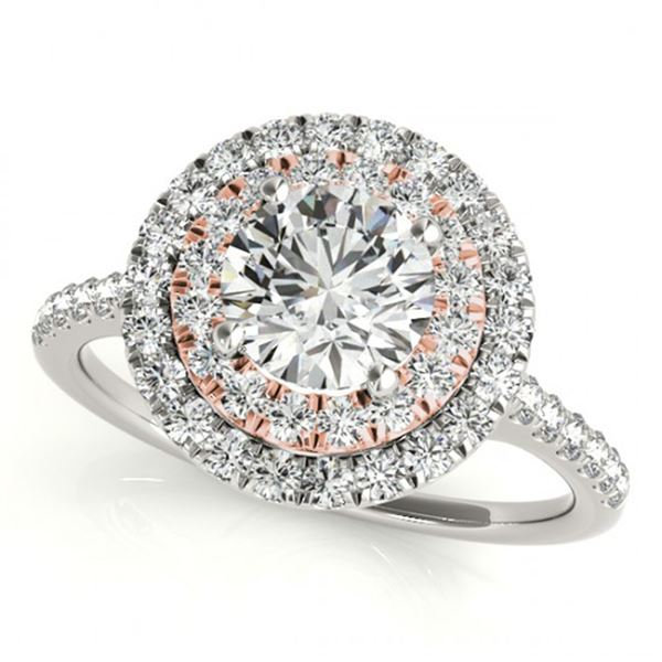 1 ctw Certified VS/SI Diamond Solitaire Halo Ring 18k 2Tone Gold - REF-114H5R