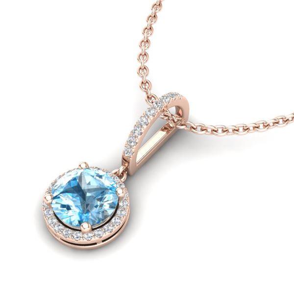 2.75 ctw Sky Blue Topaz & Micro Pave Diamond Necklace 14k Rose Gold - REF-39M5G