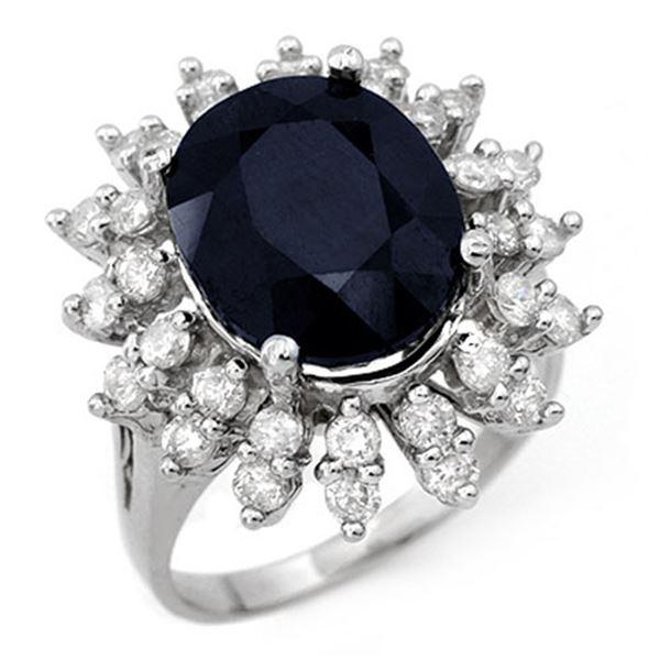 9.85 ctw Blue Sapphire & Diamond Ring 18k White Gold - REF-133W8H