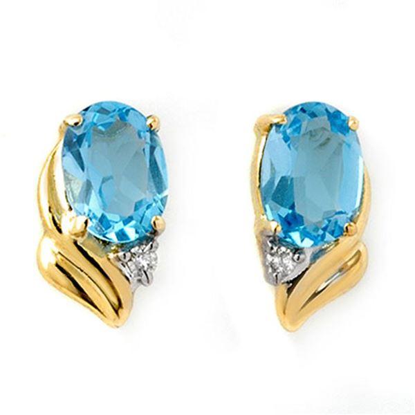 1.23 ctw Blue Topaz & Diamond Earrings 10k Yellow Gold - REF-10G2W