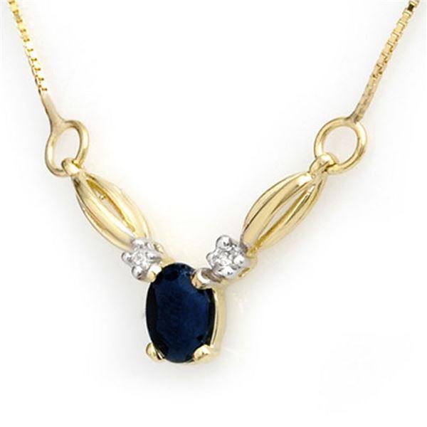 1.30 ctw Blue Sapphire & Diamond Necklace 10k Yellow Gold - REF-14X2A
