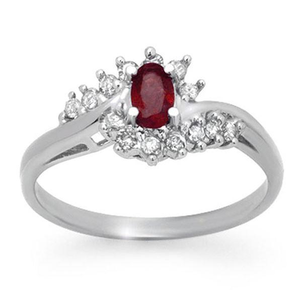0.45 ctw Ruby & Diamond Ring 18k White Gold - REF-27N8F