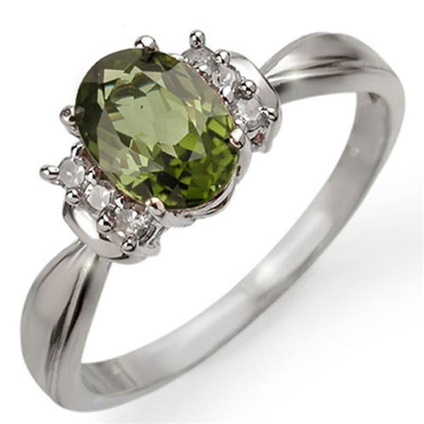 1.06 ctw Green Tourmaline & Diamond Ring 18k White Gold - REF-28G8W
