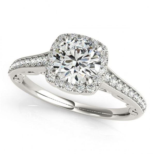 0.75 ctw Certified VS/SI Diamond Halo Ring 18k White Gold - REF-73Y8X