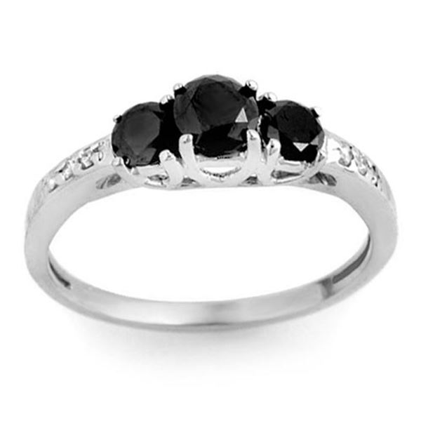 1.05 ctw VS Certified Black & White Diamond Ring 14k White Gold - REF-32K8Y