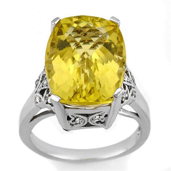 12.20 ctw Lemon Topaz & Diamond Ring 14k White Gold - REF-46F8M