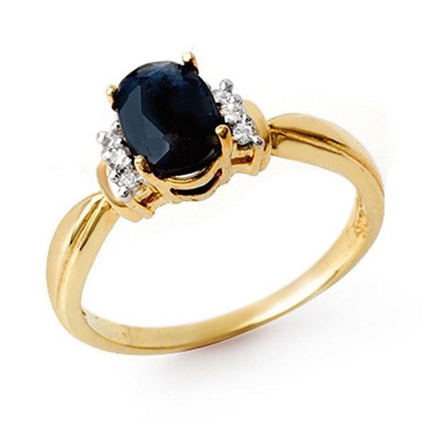 1.05 ctw Blue Sapphire & Diamond Ring 10k Yellow Gold - REF-18F4M