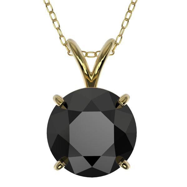 2 ctw Fancy Black Diamond Solitaire Necklace 10k Yellow Gold - REF-35F6M