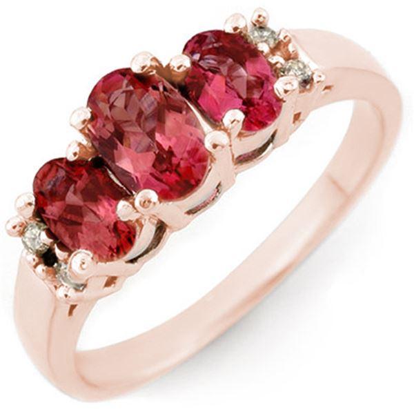 0.92 ctw Pink Tourmaline & Diamond Ring 14k Rose Gold - REF-25A3N