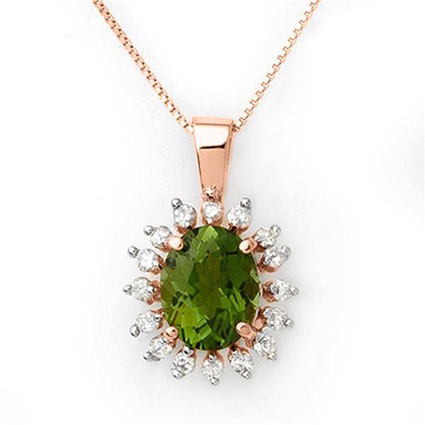 3.55 ctw Green Tourmaline & Diamond Necklace 14k Rose Gold - REF-72X8A
