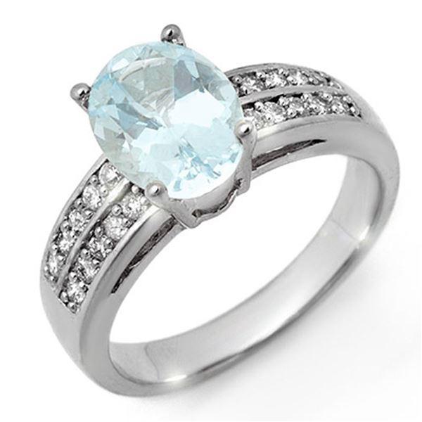 2.75 ctw Aquamarine & Diamond Ring 14k White Gold - REF-51M6G