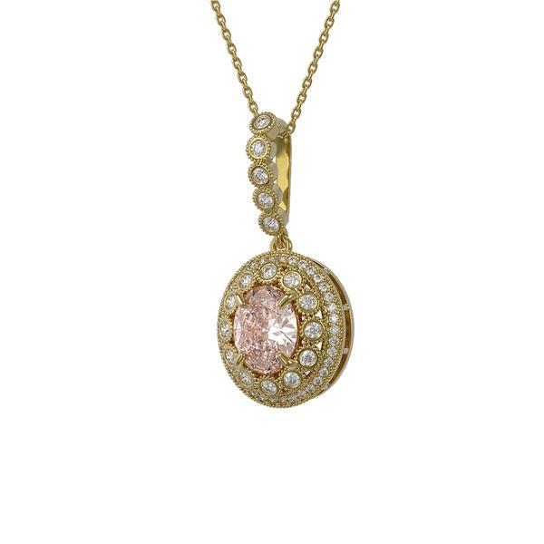 3.92 ctw Morganite & Diamond Victorian Necklace 14K Yellow Gold - REF-167M5G