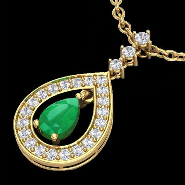 1.15 ctw Emerald & Micro Pave VS/SI Diamond Necklace 14k Yellow Gold - REF-49W3H