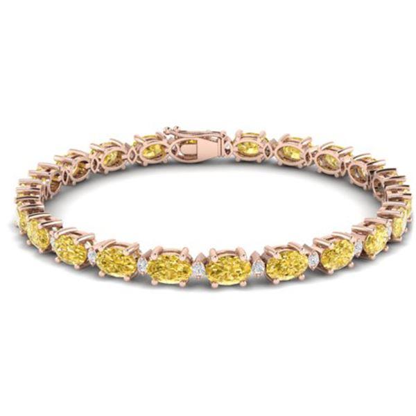 19.7 ctw Citrine & VS/SI Diamond Eternity Bracelet 10k Rose Gold - REF-98F2M