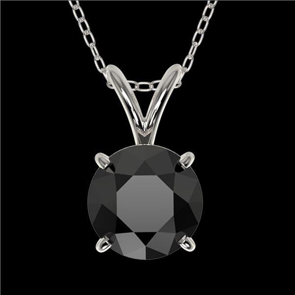 1 ctw Fancy Black Diamond Solitaire Necklace 10k White Gold - REF-21R5K