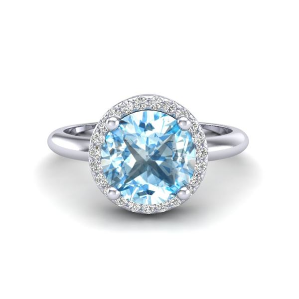 2.70 ctw Sky Blue Topaz & Micro VS/SI Diamond Ring 18k White Gold - REF-38A2N