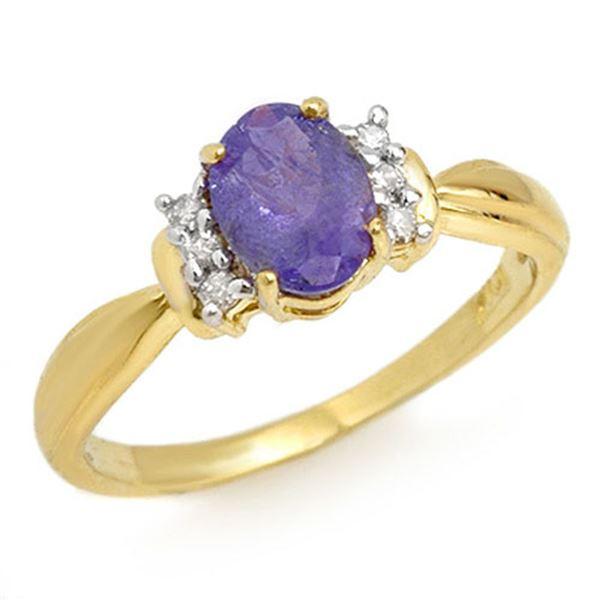 1.0 ctw Tanzanite & Diamond Ring 14k Yellow Gold - REF-24F3M