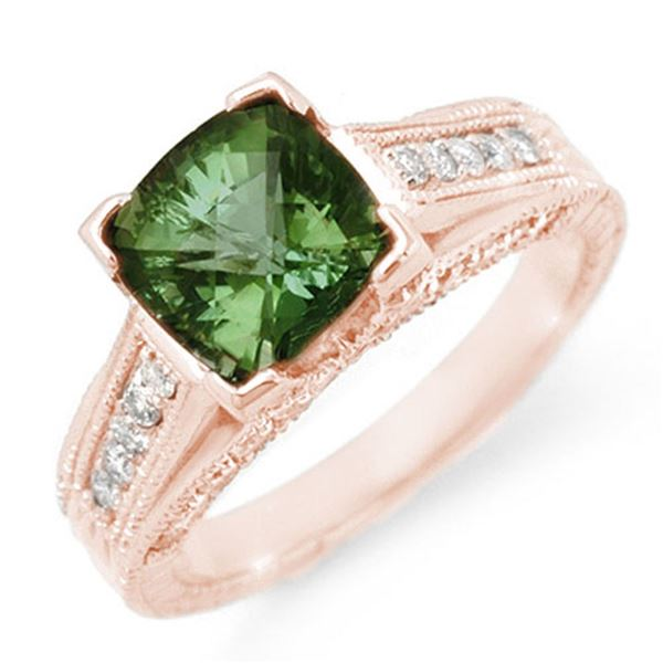 3.0 ctw Green Tourmaline & Diamond Ring 14k Rose Gold - REF-87W6H