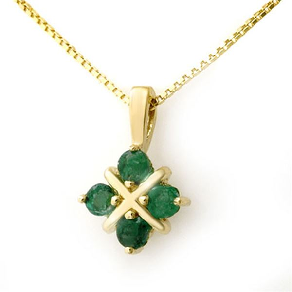 0.38 ctw Emerald Pendant 10k Yellow Gold - REF-6Y3A