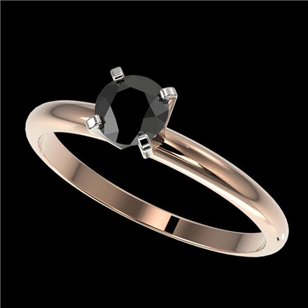0.50 ctw Fancy Black Diamond Solitaire Engagment Ring 10k Rose Gold - REF-19R2K