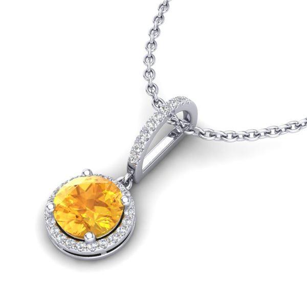 2 ctw Citrine & Micro Pave VS/SI Diamond Necklace 18k White Gold - REF-42A4N