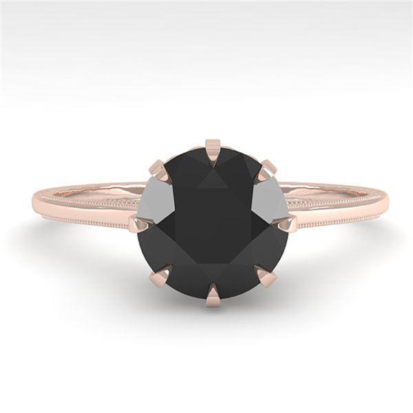 1.50 ctw Black Certified Diamond Engagment Ring 18k Rose Gold - REF-66H2R