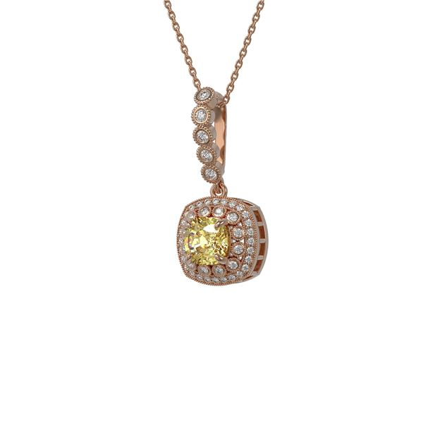 1.95 ctw Canary Citrine & Diamond Victorian Necklace 14K Rose Gold - REF-69N6F