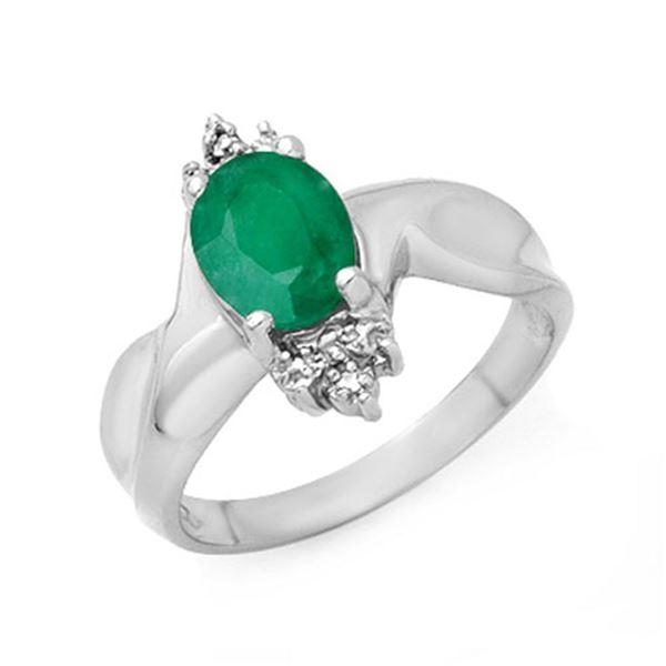 1.53 ctw Emerald & Diamond Ring 10k White Gold - REF-13H8R