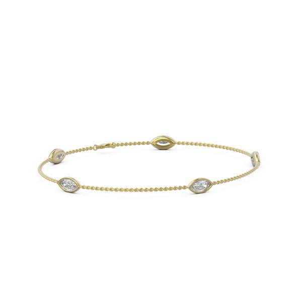 1.65 ctw Marquise Diamond Station Bracelet 18K Yellow Gold - REF-278R9K