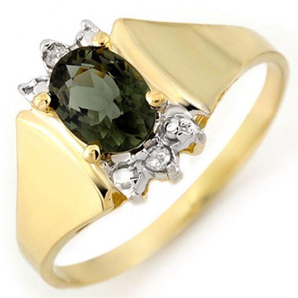 1.04 ctw Green Tourmaline & Diamond Ring 14k Yellow Gold - REF-18W2H