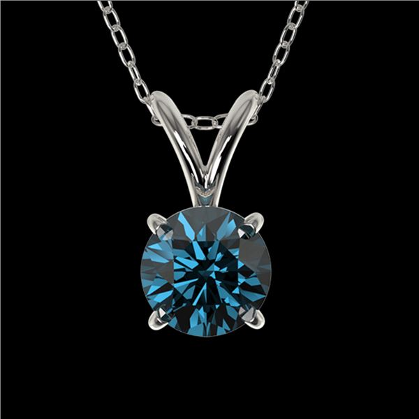 0.55 ctw Certified Intense Blue Diamond Necklace 10k White Gold - REF-34F4M