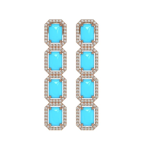 11.13 ctw Turquoise & Diamond Micro Pave Halo Earrings 10k White Gold - REF-145G6W
