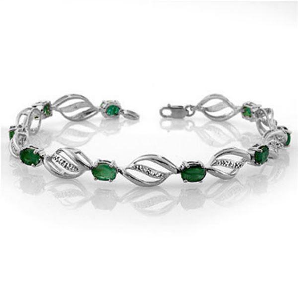 5.10 ctw Emerald & Diamond Bracelet 14k White Gold - REF-94G5W