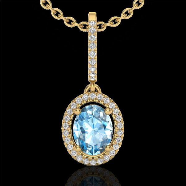 2 ctw Sky Blue Topaz & Micro VS/SI Diamond Necklace 18k Yellow Gold - REF-45F3M