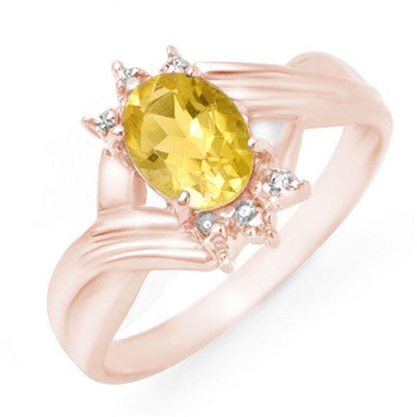 1.04 ctw Citrine & Diamond Ring 14k Rose Gold - REF-16W4H