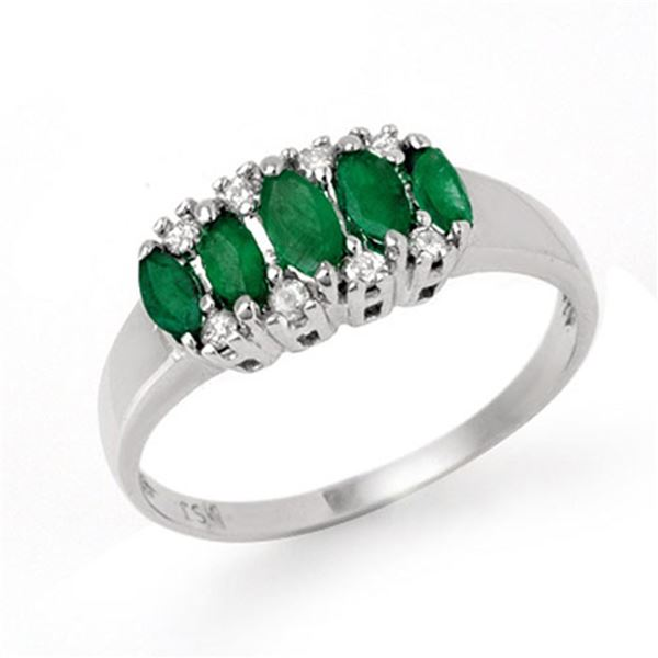 0.77 ctw Emerald & Diamond Ring 10k White Gold - REF-18M4G